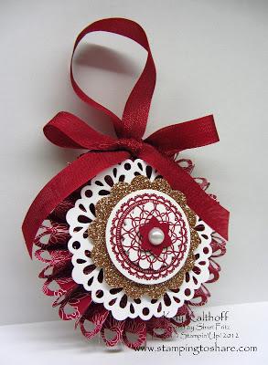 9/26 Stampin' Up! Delicate Doilies Designer Rosette Christmas Ornament