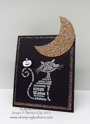 10/25 Stampin' Up! Frightening Feline with a How to Video on Tinting Glimmer Paper
