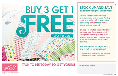 7/31 TODAY (7/31) is the Last Day to Get the Buy Three Get One Free Designer Paper Special!