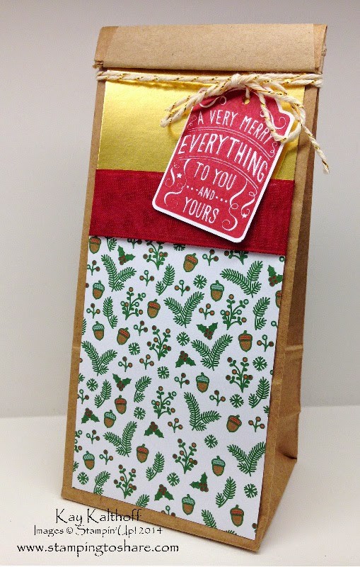 Decorated Petite Cafe Gift Bag with Merry Everything with How To Video & More Pics from Founder's Circle 2014