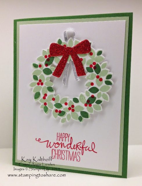 wondrous wreath is a lovely stamp set that can be bundled with the wonderful wreath framelits recently i attended a card buffet put on by angie lunden and