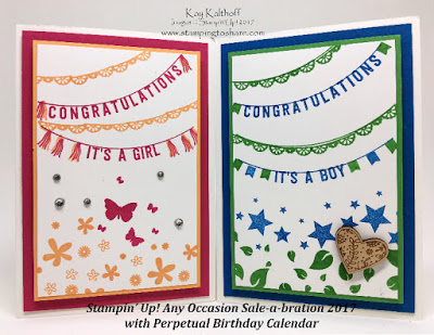 Stampin' Up! Baby Cards with Any Occasions Sale-a-bration 2017 with Perpetual Birthday Calendar Plus How To Video by Kay Kalthoff who is Stamping to Share.