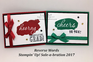 Stampin' Up! Reverse Words Graduation and St. Patrick's Day Cards by Kay Kalthoff with Stamping to Share