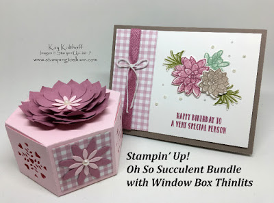 Oh, So Succulent Birthday Card and a coordinaing Window Box with the Succulent Garden Designer Series Paper. Stampin' Up! Stamping to Share, Kay Kalthoff