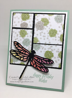 Stampin' Up! Succulent Garden Designer Paper with Detailed Dragonfly Stamping to Share