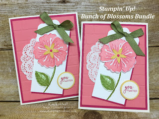Stampin' Up! Bunch of Blossoms with the coordinating Blossom Builder Punch created by Kay Kalthoff with Stamping to Share. How To Video Included!