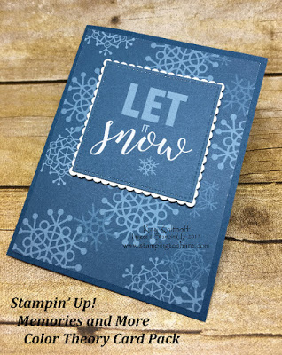 Stampin' Up! Memories and More Card Packs. Winter card by Kay Kalthoff with Stamping to Share using the Color Theory Card Pack.