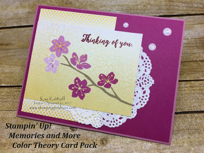 Stampin' up! Color Theory Card Pack with the new Memories and More product line. Card by Kay Kalthoff with Stamping to Share.