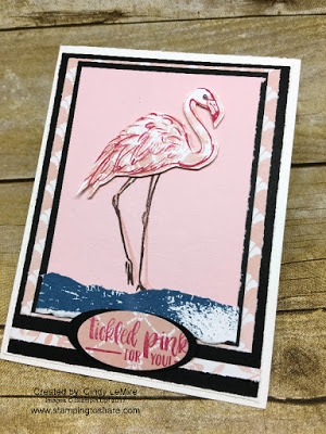 Stampin' Up! Fabulous Flamingo card created by Cindy LeMire for Stamping to Share July Demo Meeting Swap.