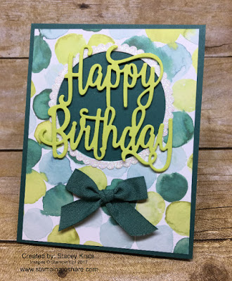 Created by Stacey Krats with the Happy Birthday Thinlits Die for Stamping to Share Swap.