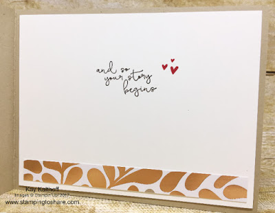 Stampin' Up! Cheers to the Year inside panel of the wedding card by Kay Kalthoff with Stamping to Share.