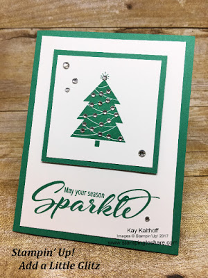 Stampin' Up! Add a Little Glitz with lots of rhinestones! Created by Kay Kalthoff with #stampingtoshare