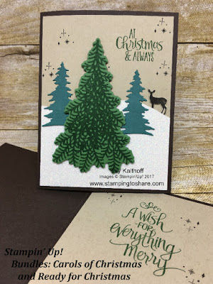 Combine the Carols of Christmas Bundle with the Ready for Christmas Bundle from the Stampin' Up! 2017 Holiday Catalog for a rustic Christmas card with glitz! Created by Kay Kalthoff with Stamping to Share.