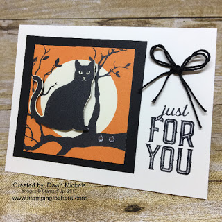 Stampin' Up! Spooky Cat Bundle with the Spooky Night Designer Series Paper created by Dawn Michels for a Stamping to Share Demo Meeting Swap.