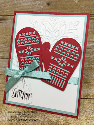 Stampin' Up! Smitten Mittens Bundle card by Stacey Krats for Stamping to Share Demo Meeting Swap.