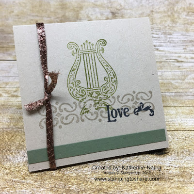 A 3x3 trio of cards featuring the Musical Season stamp set by Katherine Narog.