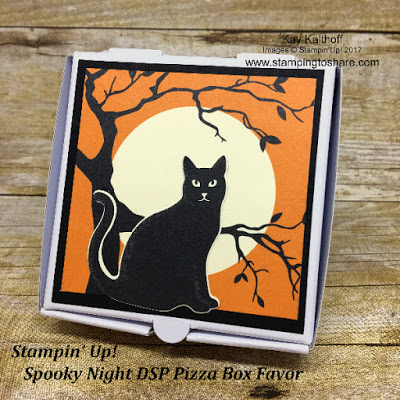 Stamping to Share Fall Flair 2017 Mini Pizza Boxes with the Customer Product Gifts inside.