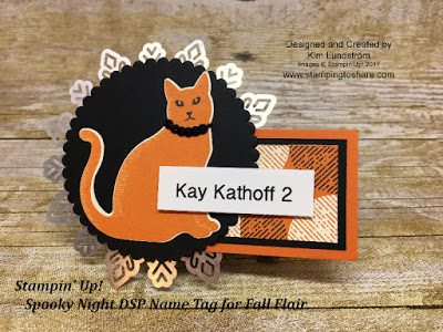 Spooky Night Name Tags with the Cat Punch created by Kim Lundstrom for Stamping to Share Fall Flair 2017.