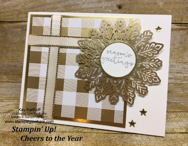 Stampin' Up! Cheers to the Year! An easy and elegant Christmas Card. Includes How To Video! #stampingtoshare