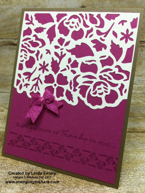 Stampin' Up! Floral Phrases card created by Linda Emery for Stamping to Share Demo Meeting Swap. #stampingtoshare