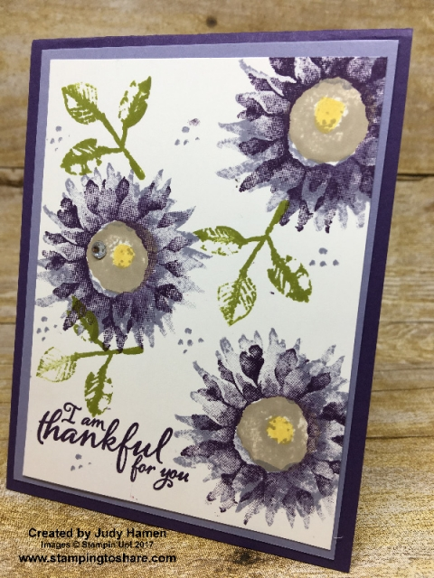 Stampin' Up! Painted Harvest card created by Judy Hamen for #stampingtoshare demo meeting swap.