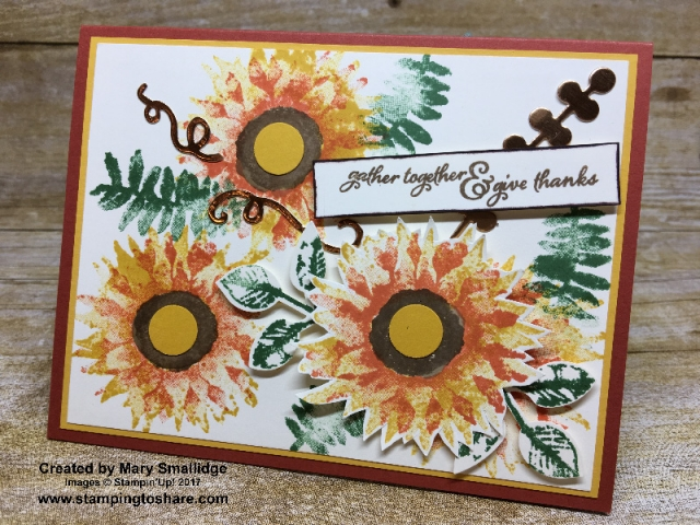 Stampin' Up! Painted Harvest card created by Mary Smallidge for #stampingtoshare demo meeting swap.