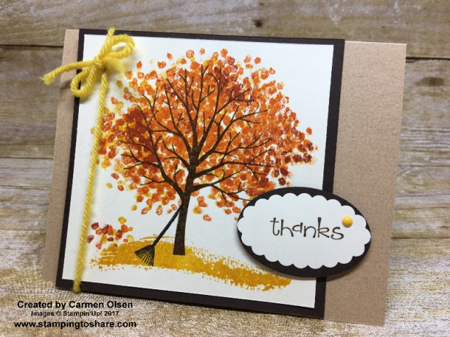 Stampin 'Up! Sheltering Tree card created by Carmen Olsen for #stampingtoshare demo meeting swap.