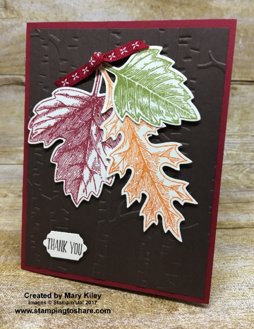 Stampin' Up! Vintage Leaves card created by Mary Kiley for Stamping to Share Demo Meeting Swap. #stampingtoshare