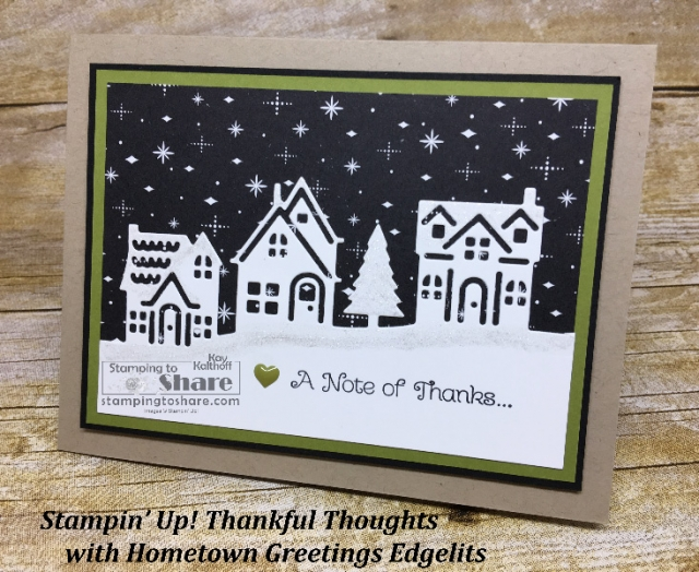 How to make a christmas thank you card with hometown greetings stampin up thankful thoughts with hometown greetings edgelits created by kay kalthoff with m4hsunfo