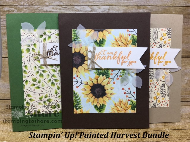 Painted Harvest Bundle from Stampin' Up! Cards created in Thailand by Kay Kalthoff with #stampingtoshare