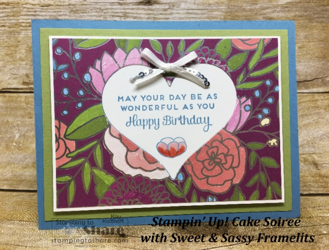 Stampin' Up! Cake Soiree created by Kay Kalthoff with Sweet & Sassy Framelit Cut Out. #stampingtoshare
