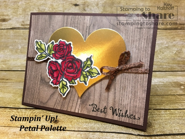Create an elegant wedding card with the Petal Palette Bundle from Stampin' Up! Created by Kay Kalthoff with #stampingtoshare