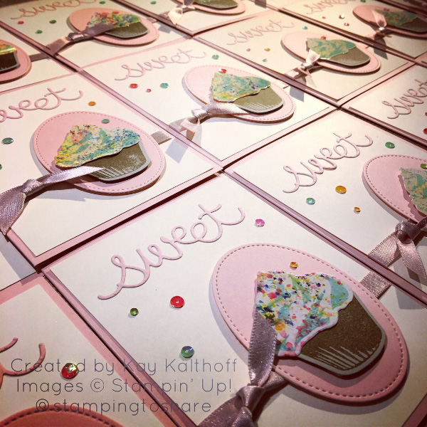 "Lots of Sweet Cupcake Cards created by Kay Kalthoff with #stampingtoshare using Brusho Crystal Colour for the ""frosting."""