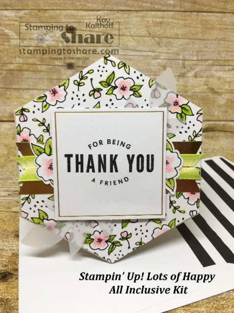Stampin' Up! Lots of Happy All Inclusive Card Kit created by Kay Kalthoff with #stampingtoshare Includes how to video.