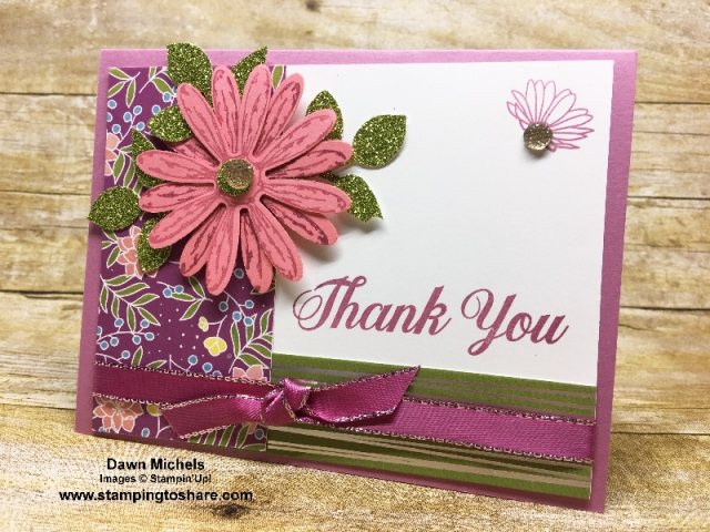Created by Dawn Michels, March 2018 #stampingtoshare Demo Meeting Swap Card using Stampin' Up! Daisy Delight.