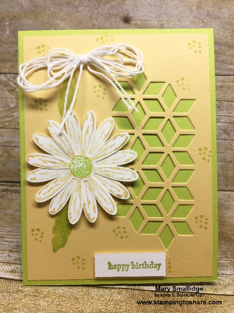 Created by Mary Smallidge, March 2018 #stampingtoshare Demo Meeting Swap Card using Stampin' Up! Daisy Delight