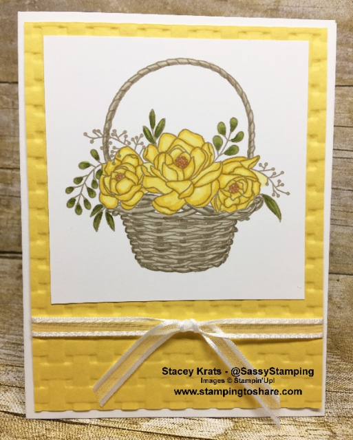 Created by Stacey Krats, March 2018 #stampingtoshare Demo Meeting Swap Card using the Blossoming Basket Bundle