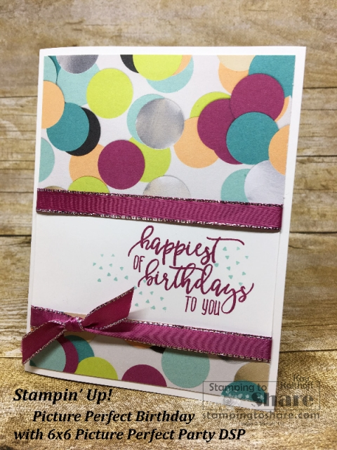 Stampin' Up! Picture Perfect Birthday with Picture Perfect Party 6x6 DSP created by Kay Kalthoff for #stampingtoshare