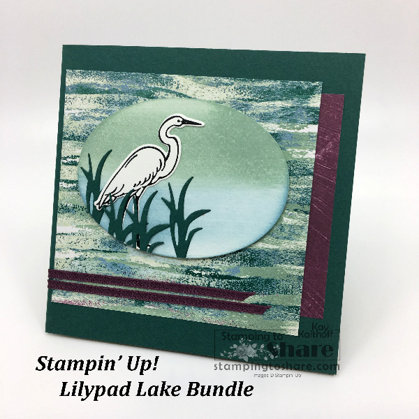 How to Make a Square Card and Matching Envelope with the New Lilypad Lake Bundle from Stampin' Up! Created by Kay Kalthoff for #stampingtoshare