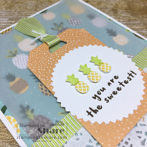 Fruit Basket Bundle Pineapple Tag Card created by Kay Kalthoff with Tutti Frutti 6x6 DSP for #stampingtoshare