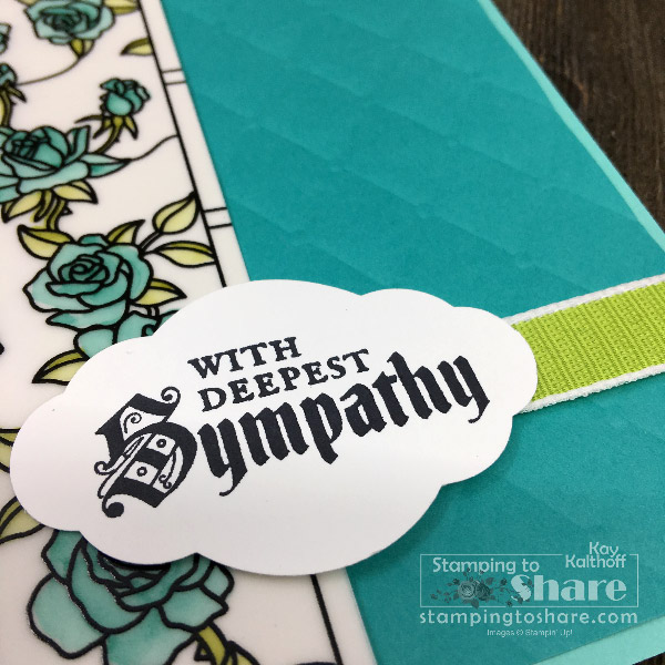 Stampin' Up! Pretty Label Punch cuts all four sentiments from Painted Glass - Kay Kalthoff with #stampingtoshare