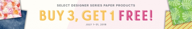 July 2018 Designer Series Paper Sale from Stampin' Up! Buy 3 and Get 1 Free! #stampingtoshare