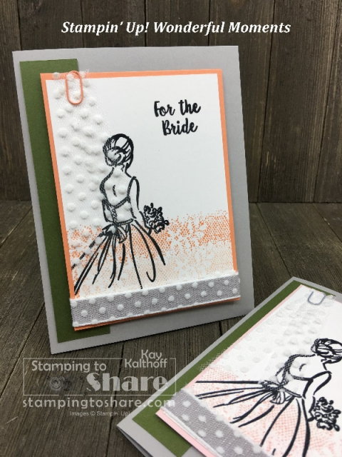 How to Make a Stampin' Up! Wonderful Moments Bridal Shower card created by Kay Kalthoff for #stampingtoshare