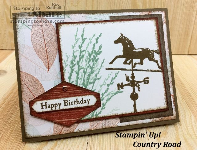 Stampin' Up! Country Road Make It Monday FB Live Masculine Card created by Kay Kalthoff for #stampingtoshare