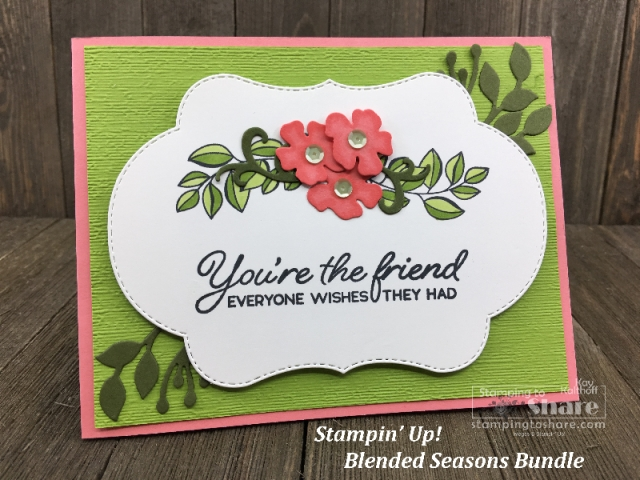 Spring or Summer Blended Seasons Bundle Friendship with the Subtle Embossing Folder with Kay Kalthoff #stampingtoshare
