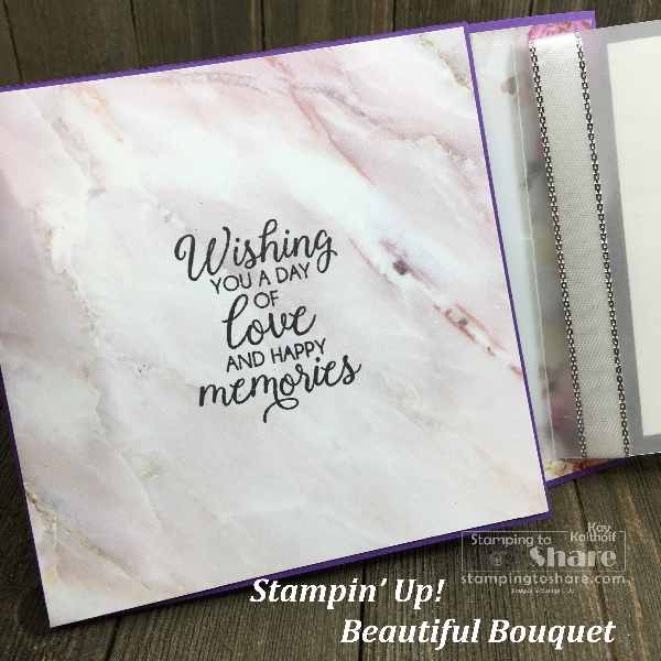 Stampin' Up! Beautiful Bouquet Wedding Card with Petal Promenade DSP created by Kay Kalthoff, includes How To Video! #stampingtoshare