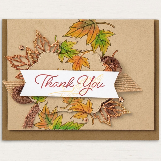 Stampin' Up! Blended Season Bundle Fall Thank You Card Kay Kalthoff at #stampingtoshare