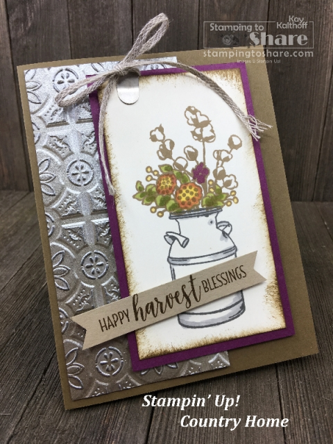 Stampin' Up! Country Home with Galvanized Paper - beautiful fall card created by Kay Kalthoff on a Fab Friday FB Live for #stampingtoshare