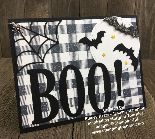 Large Letter Framelits Boo by Stacey Krats for a Demo Meeting Swap Card with #stampingtoshare
