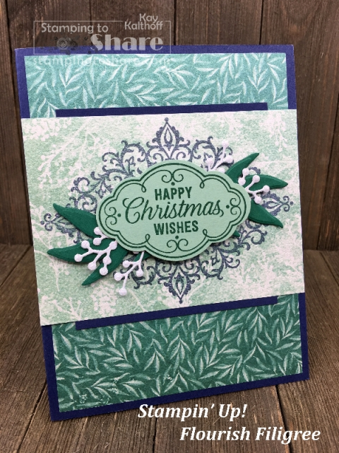 How to Make a Christmas card with Stampin' Up! Flourish Filigree and Frosted Floral Designer Paper. Make It Monday FB Live with Kay Kalthoff at #stampingtoshare